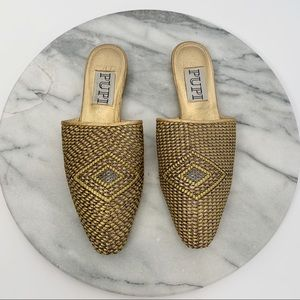 PUPI vintage woven slip on gold mules